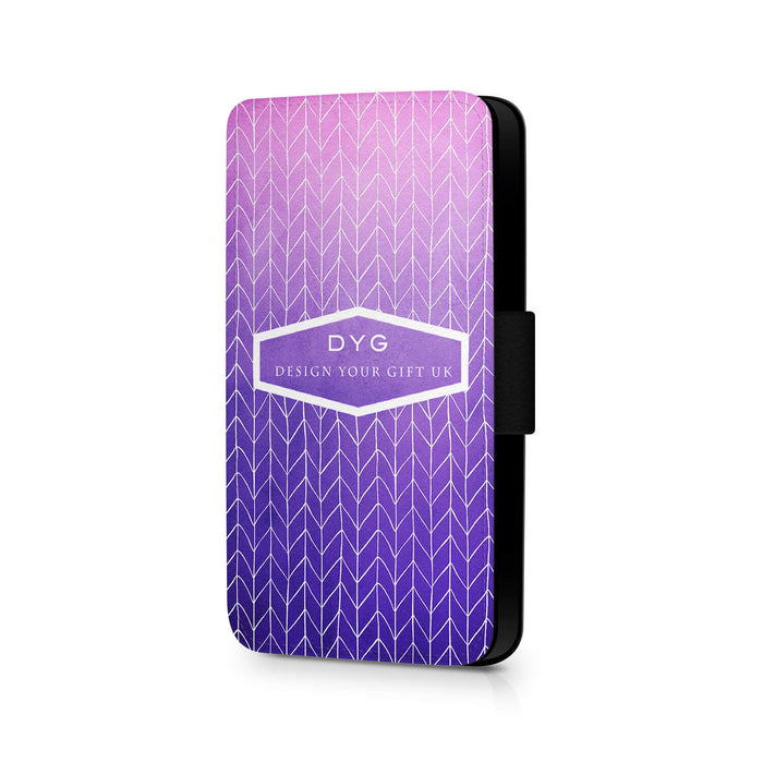 ZigZag Ombre with Text | iPhone 7 Wallet Case - purple design