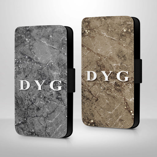 Sparkle Marble with Initials | iPhone 7 Wallet Case - variants