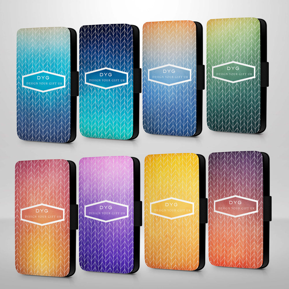 ZigZag Ombre with Text | iPhone 7 Wallet Case - 8 variants of colour
