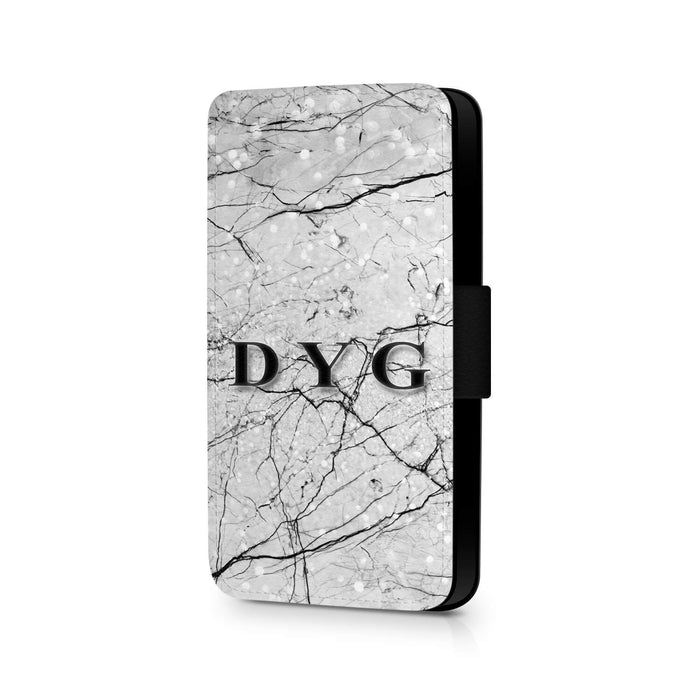 Marble Veins with Initials | iPhone 7+ Wallet Case design-your-gift.