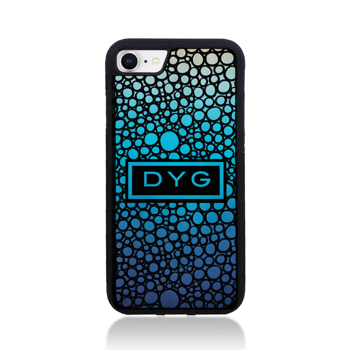 iPhone 8 Black Rubber Phone Case | Bubble Hollow and Initial - blue lagoon colours design