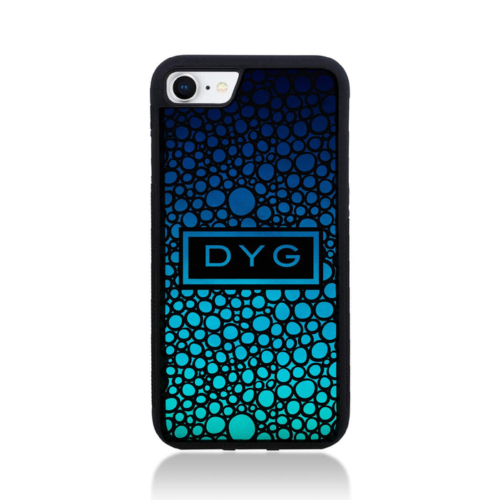iPhone 8 Black Rubber Phone Case | Bubble Hollow and Initial - blue sea colours design