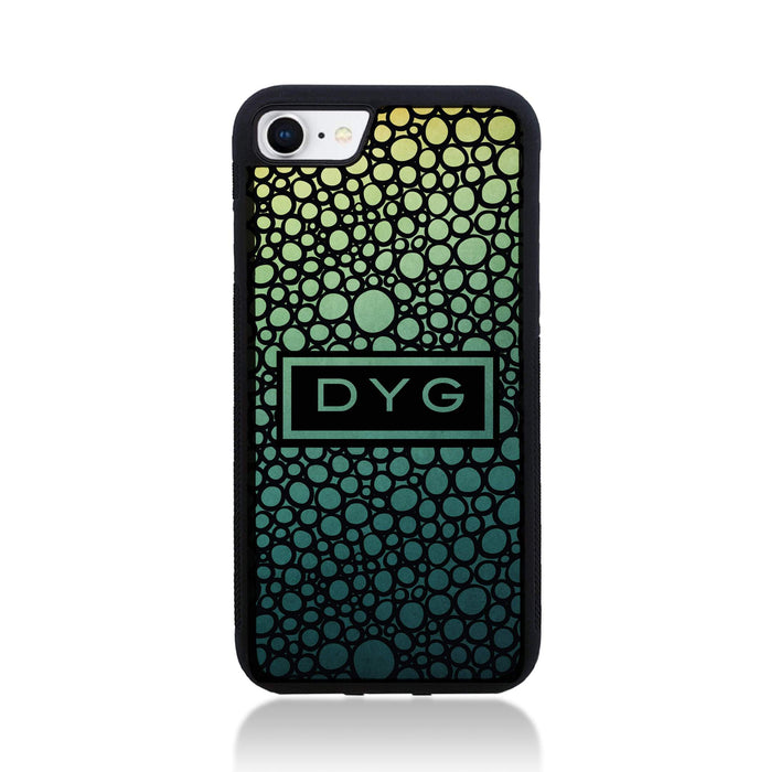 iPhone 8 Black Rubber Phone Case | Bubble Hollow and Initial - green lake colours design