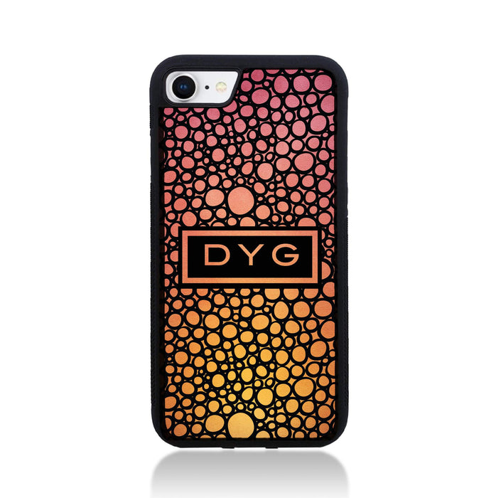 iPhone 8 Black Rubber Phone Case | Bubble Hollow and Initial - hot summer colours design
