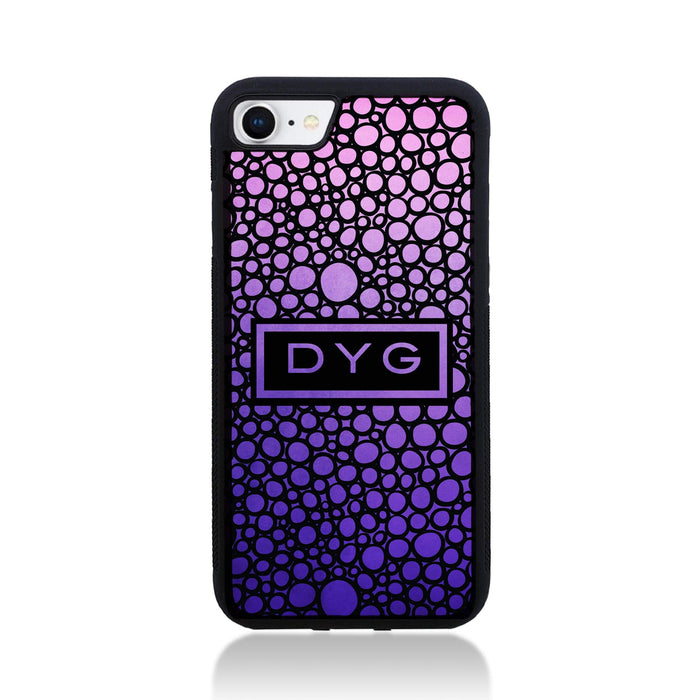 iPhone 8 Black Rubber Phone Case | Bubble Hollow and Initial - purple design