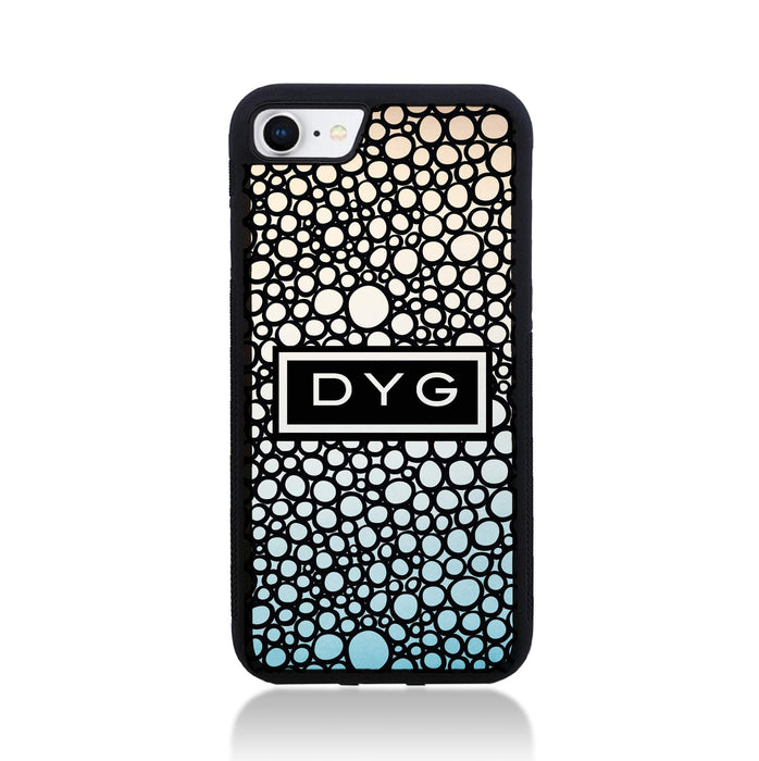 iPhone 8 Black Rubber Phone Case | Bubble Hollow and Initial - sky colours design