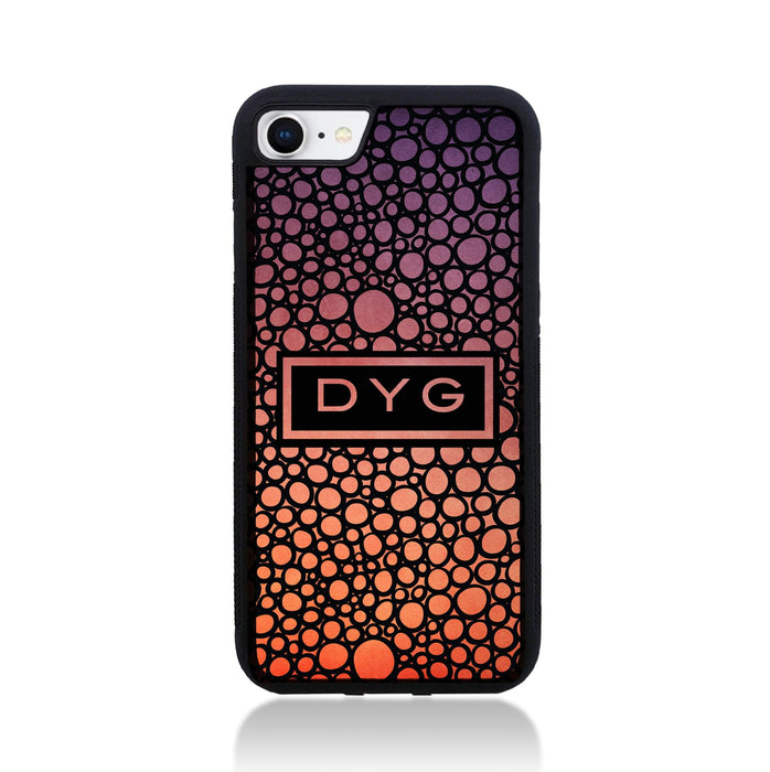 iPhone 8 Black Rubber Phone Case | Bubble Hollow and Initial - sunset colours design