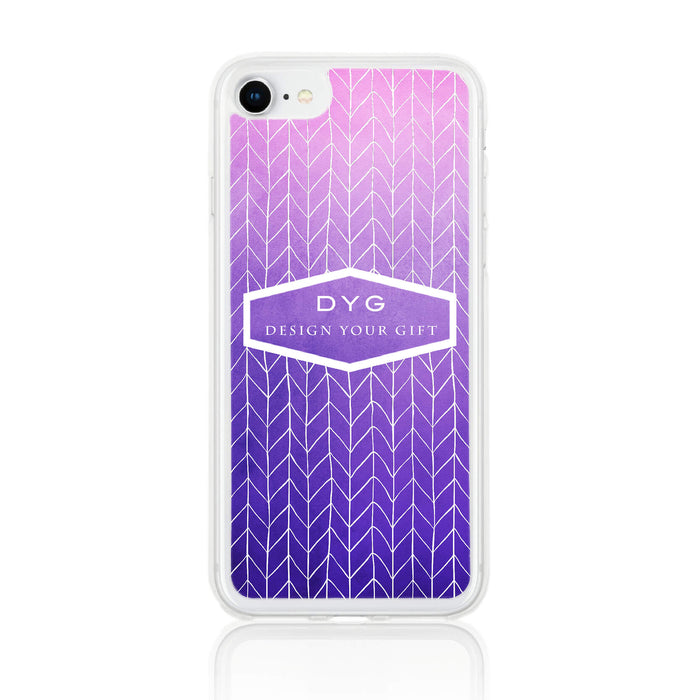 ZigZag Ombre with your Text - iPhone 8 Clear Phone Case - purple design