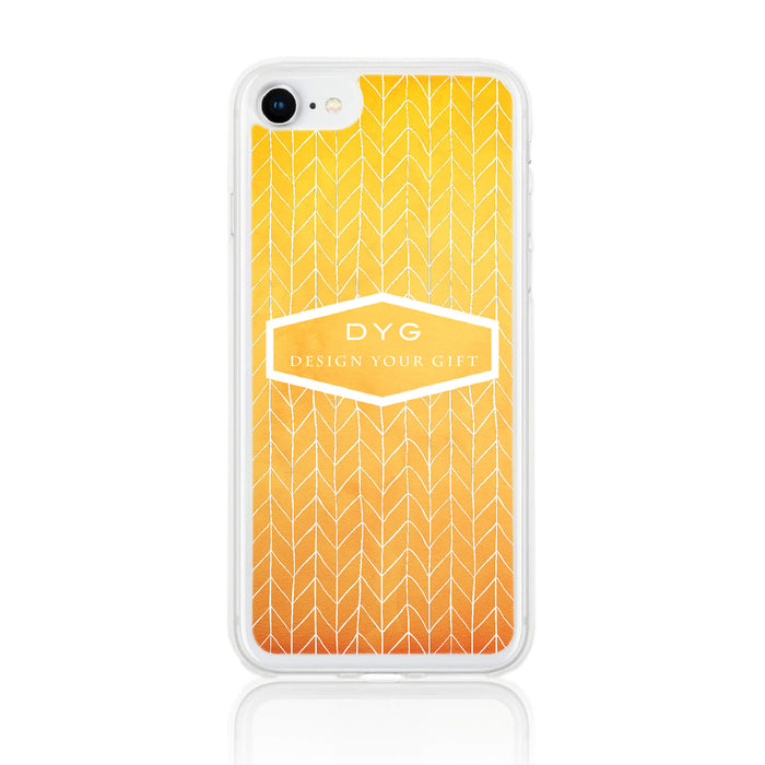 ZigZag Ombre with your Text - iPhone 8 Clear Phone Case - summer colours design