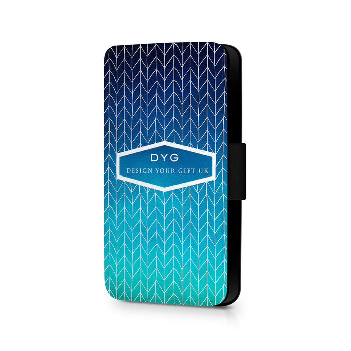 ZigZag Ombre with Text | iPhone 8 Wallet Case - blue sea colours design