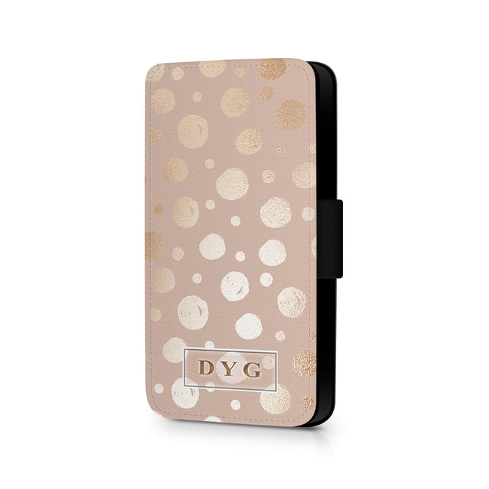 Glossy Dots Pattern with Initials | iPhone 8 Wallet Case - Champagne background with rose glossy dots