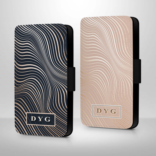 Glossy Waves Pattern with Initials | iPhone 8 Wallet Case