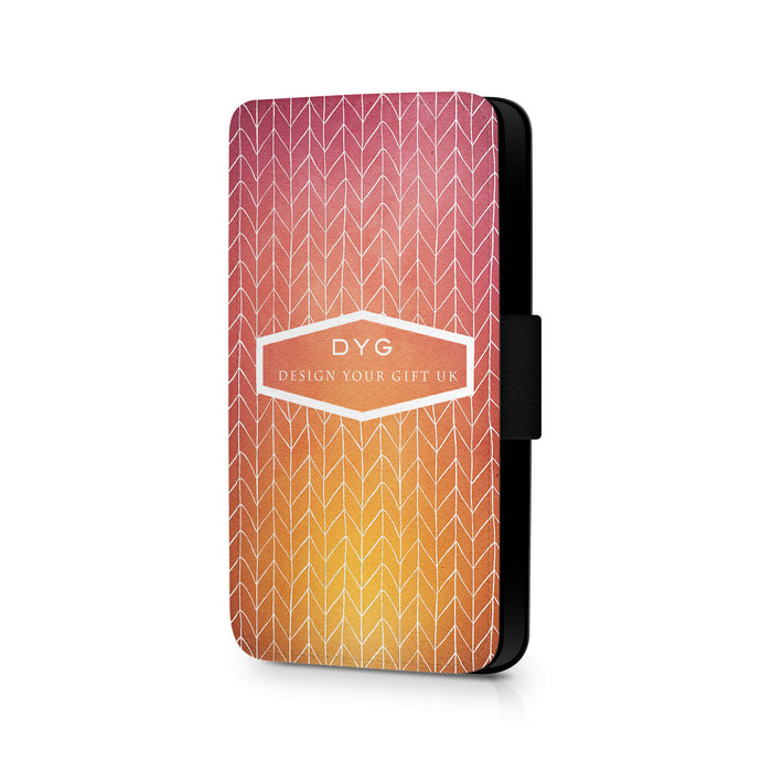 ZigZag Ombre with Text | iPhone 8 Wallet Case -hot summer colours design