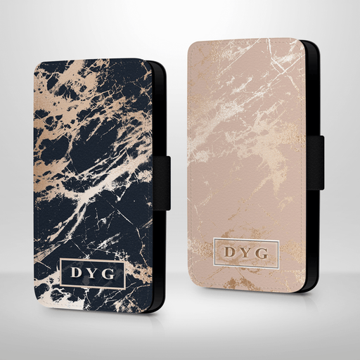 Luxury Gloss Marble with Initials | iPhone 8 Wallet Case