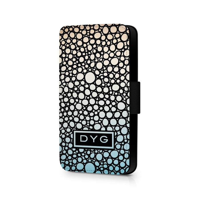 Bubbles Hollow With Initials | iPhone 8 Wallet Phone Case - Sky Colours Design