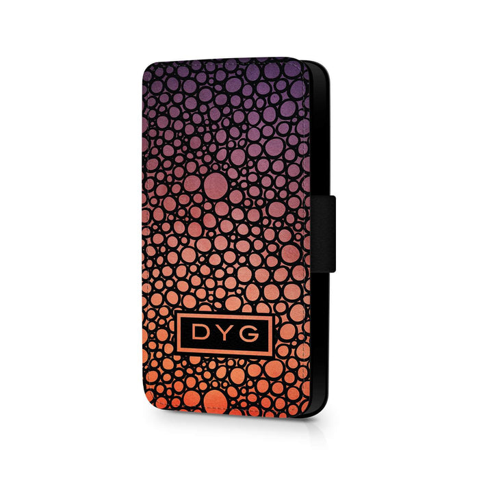 Bubbles Hollow With Initials | iPhone 8 Wallet Phone Case - Sunset Colours Design