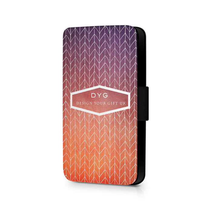 ZigZag Ombre with Text | iPhone 8 Wallet Case - sunset colours design