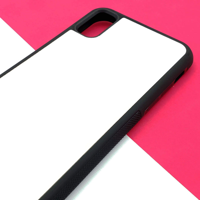 iPhone X Black Rubber Phone Case | Bubble Hollow and Initial - Blank