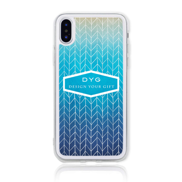 ZigZag Ombre with your Text - iPhone X Clear Phone Case - Blue Lagoon colours design