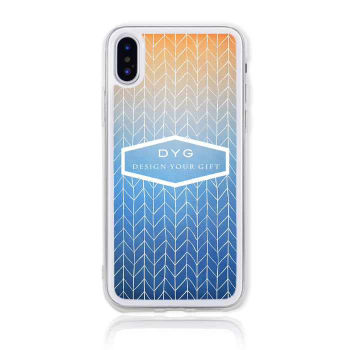 ZigZag Ombre with your Text - iPhone X Clear Phone Case - Blue Sky colours design