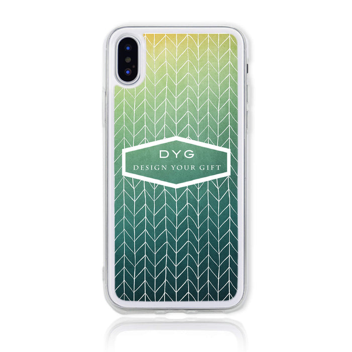 ZigZag Ombre with your Text - iPhone X Clear Phone Case - Green Lake colours design