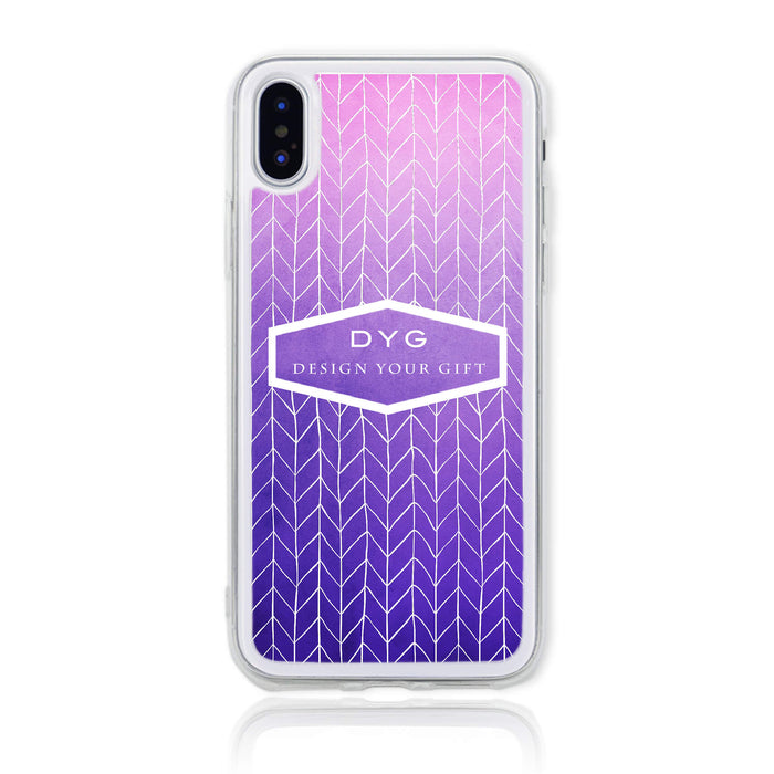 ZigZag Ombre with your Text - iPhone X Clear Phone Case - Purple design