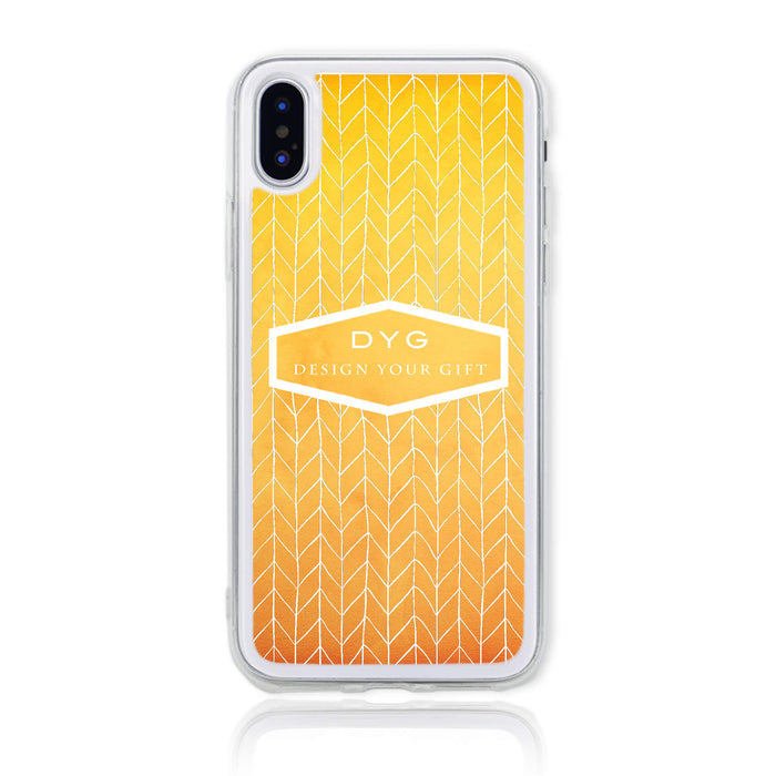 ZigZag Ombre with your Text - iPhone X Clear Phone Case - Summer colours design