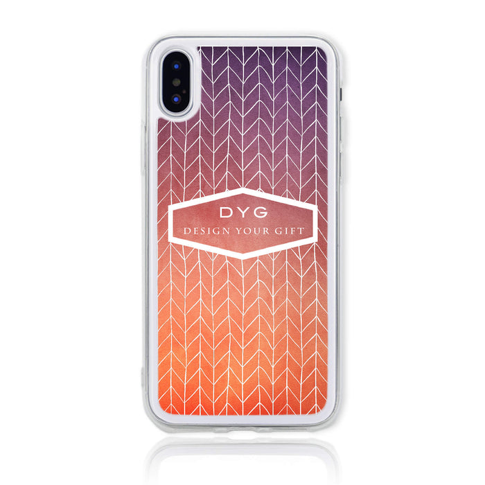 ZigZag Ombre with your Text - iPhone X Clear Phone Case - Sunset colours design