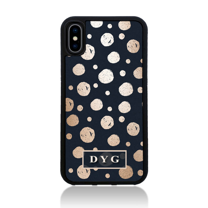 iPhone X Black Rubber Phone Case | Glossy Dots with Initials - black background with glossy rose dots