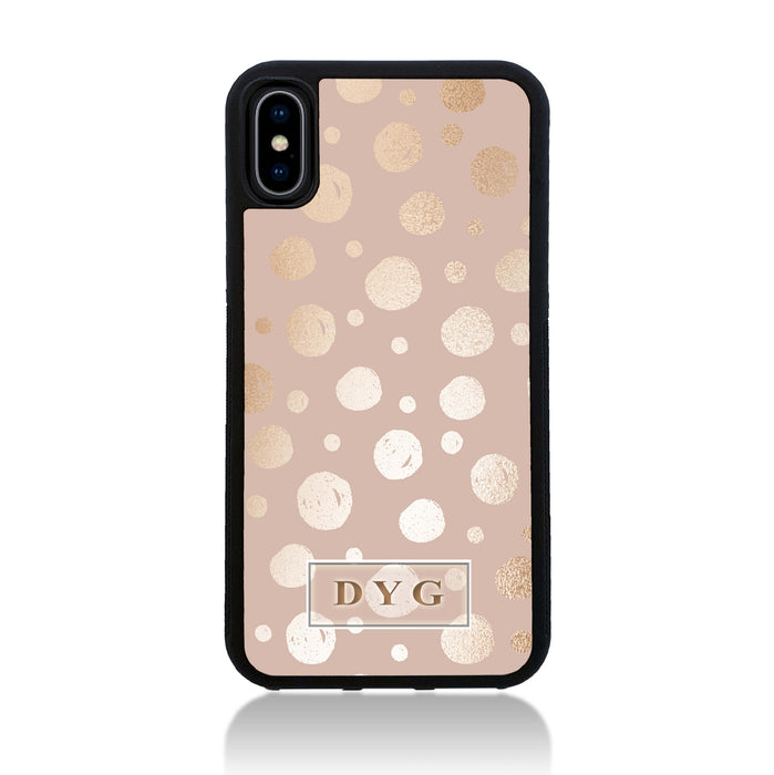 iPhone X Black Rubber Phone Case | Glossy Dots with Initials - champagne background with glossy rose dots