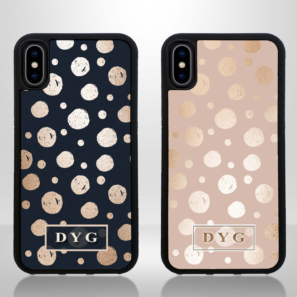 iPhone X Black Rubber Phone Case | Glossy Dots with Initials