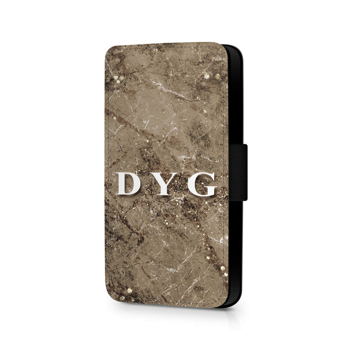 Sparkle Marble with Initials | iPhone X Wallet Case - cinnamon sparkle marble effect