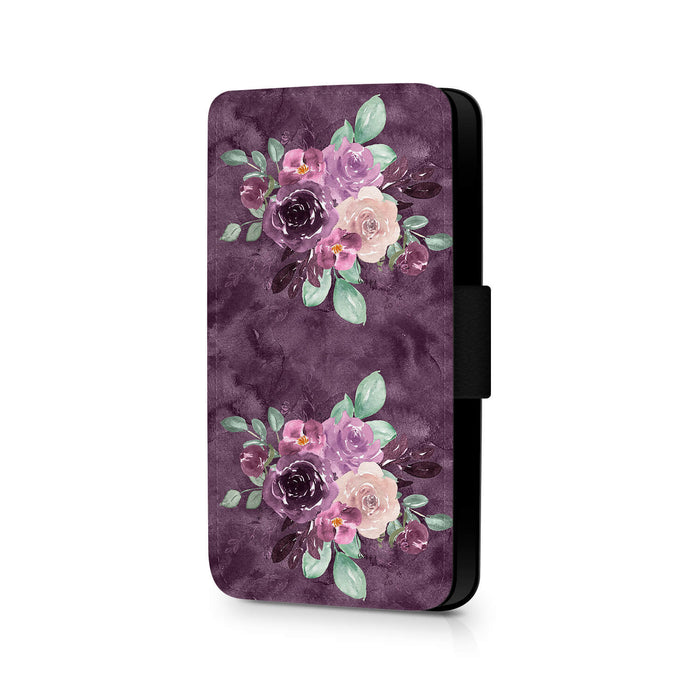 Flowers & Purple fur Effect | iPhone X Wallet Phone Case