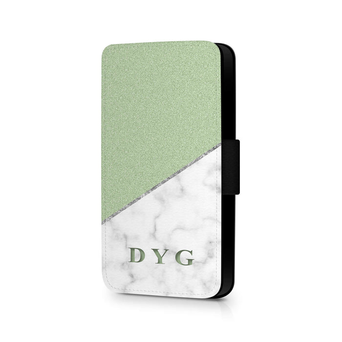 White marble & Glitter with Initials | iPhone X Wallet Case - mint glitter and white marble effect