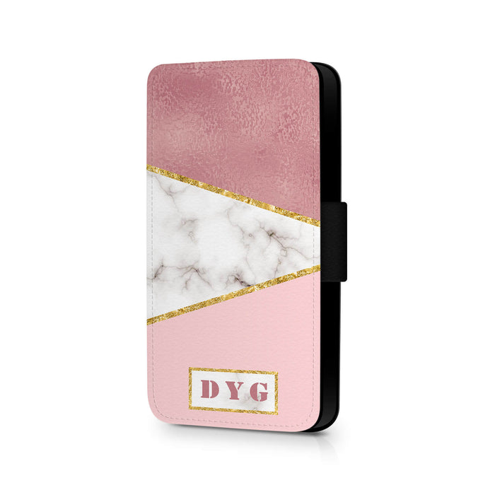 White & Rose marble with Initials | iPhone X Wallet Case - design 2