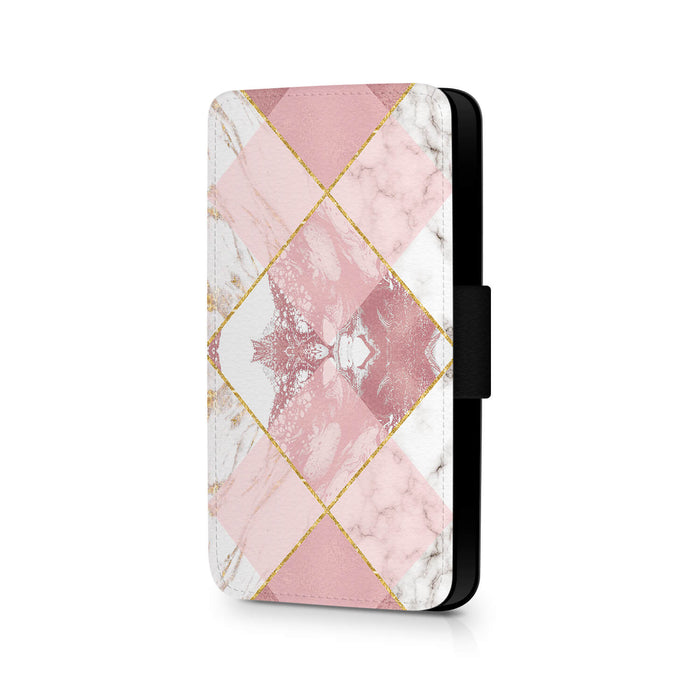Rose Marble & Geometric Patterns | iPhone X Wallet Case - design 1