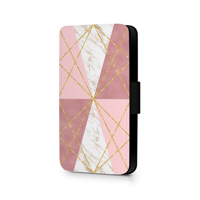 Rose Marble & Geometric Patterns | iPhone X Wallet Case - design 2
