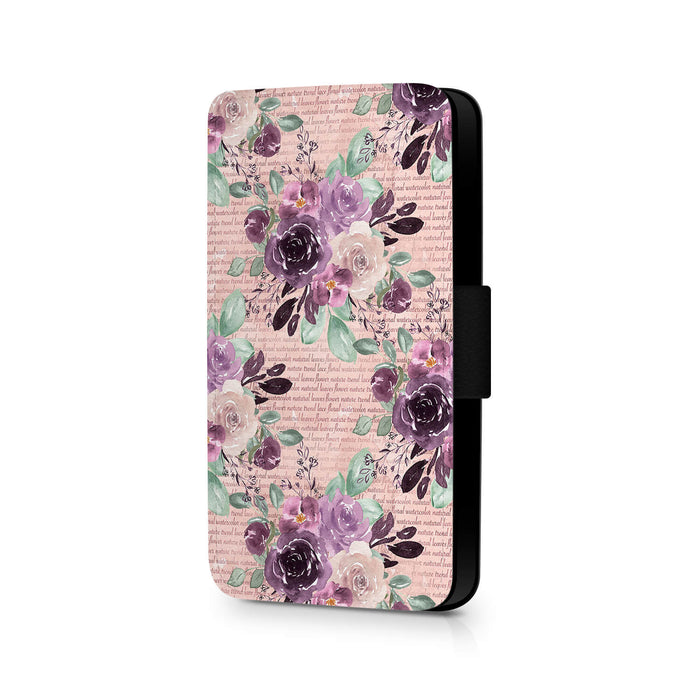 Flowers & Leaves Design | iPhone X Wallet Phone Case - cream