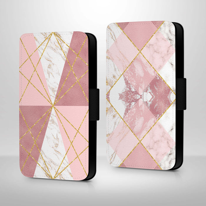 Rose Marble & Geometric Patterns | iPhone X Wallet Case