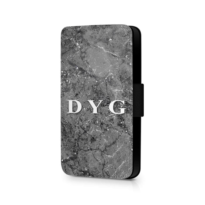 Sparkle Marble with Initials | iPhone X Wallet Case - silver mink sparkle marble effect