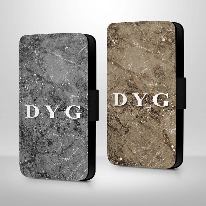 Sparkle Marble with Initials | iPhone X Wallet Case - variants