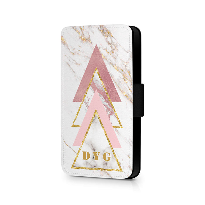 White & Rose marble with Initials | iPhone X Wallet Case - design 1