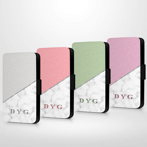 White marble & Glitter with Initials | iPhone Wallet Case design-your-gift.