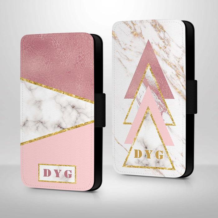 White & Rose marble with Initials | iPhone X Wallet Case - 2 variants
