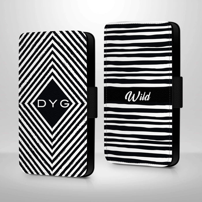 Black & White Pattern with Initials | iPhone X Wallet Case