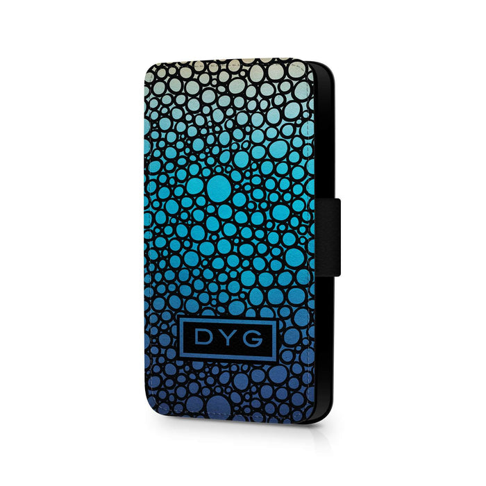 Bubbles Hollow With Initials | iPhone X Wallet Phone Case - Blue Lagoon Colours Design