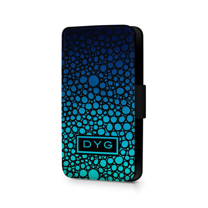 Bubbles Hollow With Initials | iPhone X Wallet Phone Case - Blue Sea Colours Design