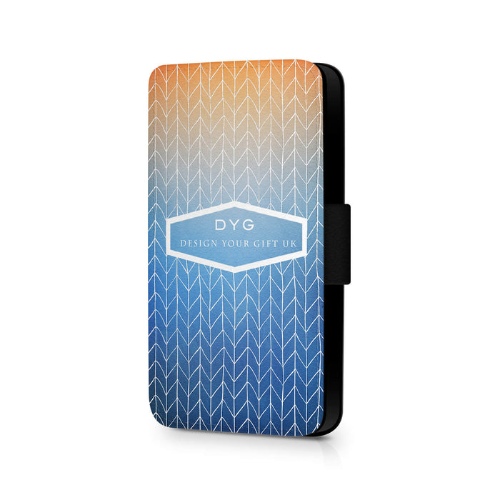 ZigZag Ombre with Text | iPhone X Wallet Case - blue sky colours design