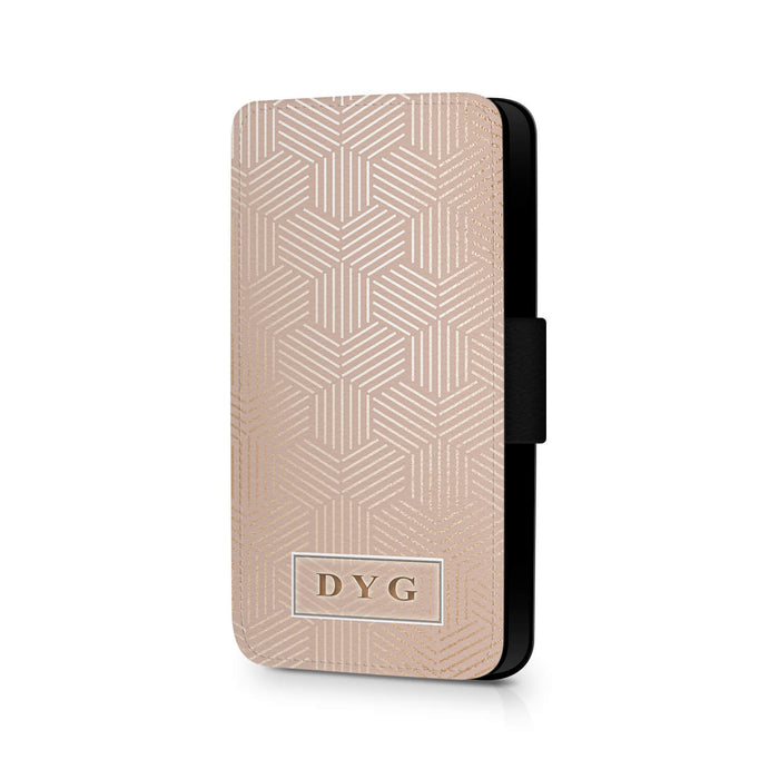 Glossy Geometric Pattern with Initials | iPhone X Wallet Case - champagne background with glossy rose geometric patterns