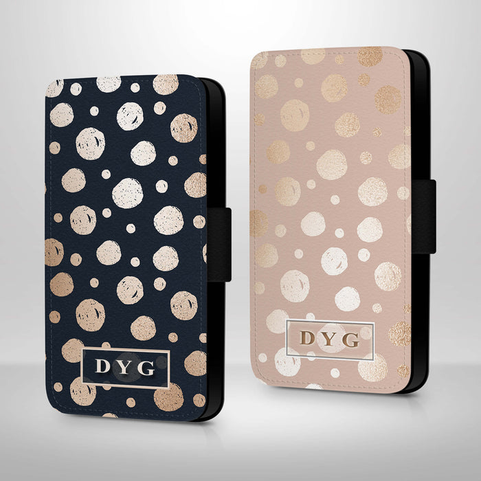 Glossy Dots Pattern with Initials | iPhone X Wallet Case